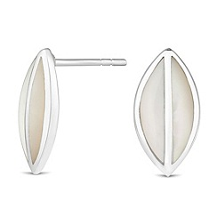 Simply Silver - Sterling silver mother of pearl leaf earring