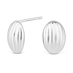 Simply Silver - Sterling silver striped oval stud earring