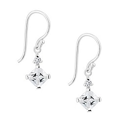Simply Silver - Sterling silver cubic zirconia square drop earring