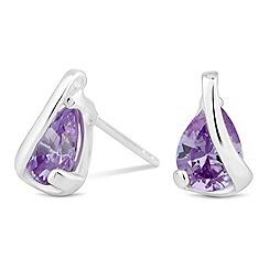 Simply Silver - Sterling silver purple cubic zirconia peardrop wrap earring