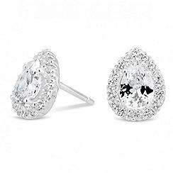 Simply Silver - Sterling silver cubic zirconia peardrop stud earring