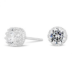 Simply Silver - Sterling silver cubic zirconia round stud earring