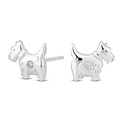 Simply Silver - Sterling silver cubic zirconia scotty dog stud earring
