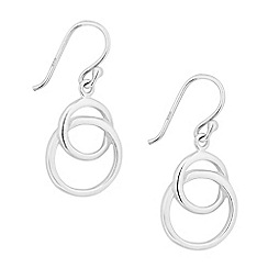 Simply Silver - Sterling silver polished double ring drop earring