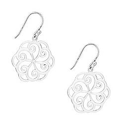 Simply Silver - Sterling silver filigree flower disc earring