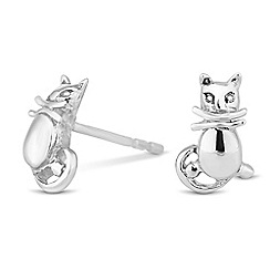 Simply Silver - Sterling silver polished cat stud earring