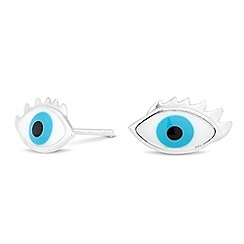 Simply Silver - Online exclusive sterling silver enamel eye stud earring