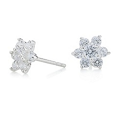 Simply Silver - Sterling silver cubic zirconia floral stud earring