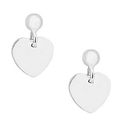 Simply Silver - Sterling silver polished heart drop earring