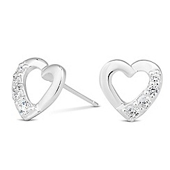 Simply Silver - Sterling silver cubic zirconia heart stud earring