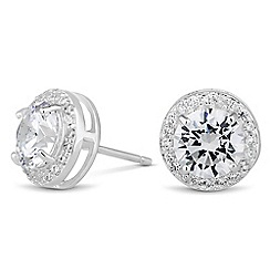 Simply Silver - Sterling silver cubic zirconia Clara earring
