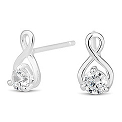 Simply Silver - Sterling silver cubic zirconia infinity stud earring