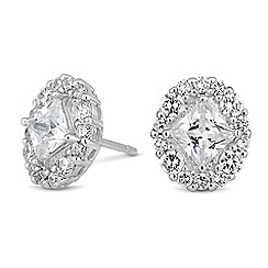 Simply Silver - Sterling silver square cubic zirconia oval stud earring