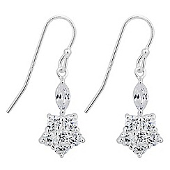 Simply Silver - Sterling silver cubic zirconia flower drop earring