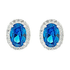 Simply Silver - Sterling silver blue oval cubic zirconia stud earring