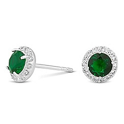 Simply Silver - Sterling silver round green cubic zirconia earring