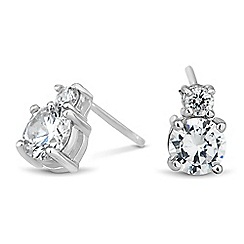 Simply Silver - Sterling silver double round cubic zirconia stud earring