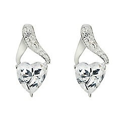Simply Silver - Sterling silver cubic zirconia heart twist top earring