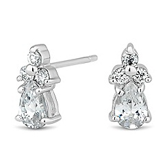 Simply Silver - Sterling silver cubic zirconia navette stud earring