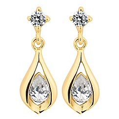 Simply Silver - Sterling silver gold cubic zirconia drop earring