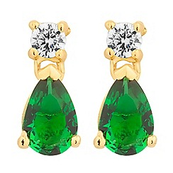 Simply Silver - Sterling silver green cubic zirconia gold peardrop earring