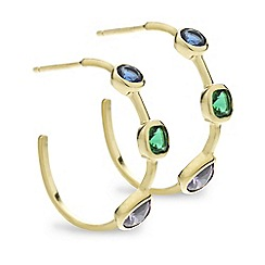 Simply Silver - Sterling silver multicoloured gold hoop earring
