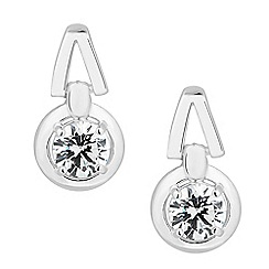 Simply Silver - Sterling silver round cubic zirconia drop earring