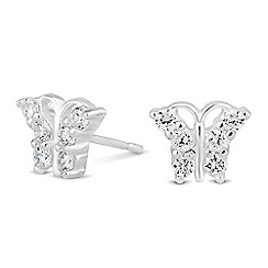 Simply Silver - Sterling silver cubic zirconia butterfly stud earring