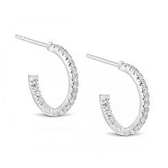 Simply Silver - Sterling silver cubic zirconia encased hoop earring