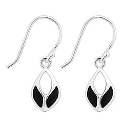 Simply Silver - Sterling silver black onyx leaf drop earring