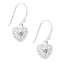 Simply Silver - Sterling silver filigree heart drop earring