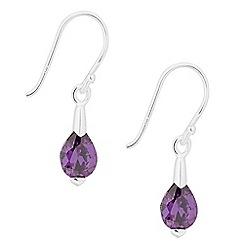 Simply Silver - Sterling silver purple cubic zirconia peardrop earring