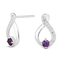 Simply Silver - Sterling silver purple cubic zirconia loop earring