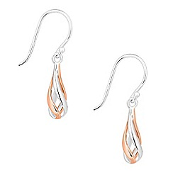 Simply Silver - Sterling silver two tone spiral drop earring