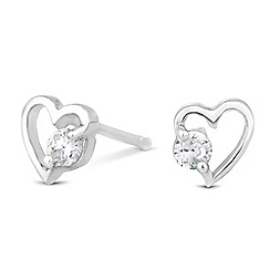 Simply Silver - Sterling silver cubic zirconia open heart stud earring