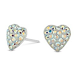 Simply Silver - Sterling silver aurora borealis heart stud earring