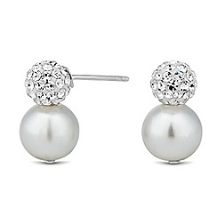 Simply Silver - Sterling silver crystal ball pearl drop earring