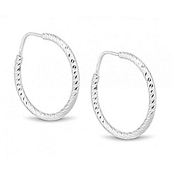 Simply Silver - Sterling silver diamond cut hoop earring
