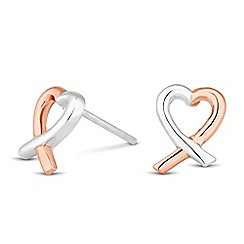Simply Silver - Sterling silver two tone heart earring