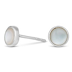 Simply Silver - Sterling silver mother of pearl round stud earring