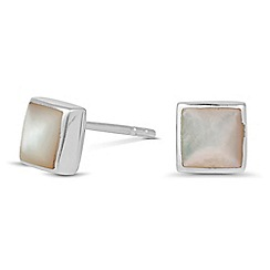 Simply Silver - Sterling silver mother of pearl square stud earring