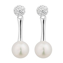 Simply Silver - Sterling silver cubic zirconia disc and pearl drop earring