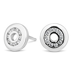 Simply Silver - Sterling silver cubic zirconia disc stud earring