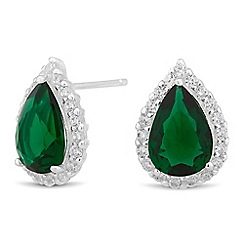 Simply Silver - Sterling silver green cubic zirconia peardrop earring