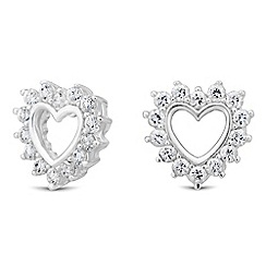 Simply Silver - Sterling silver cubic zirconia surround heart earring