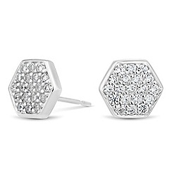 Simply Silver - Sterling silver cubic zirconia hexagon stud earring