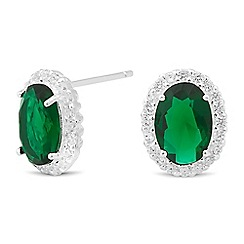 Simply Silver - Oval green cubic zirconia stud earring