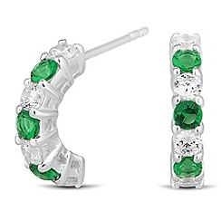 Simply Silver - Sterling silver green and clear cubic zirconia earring