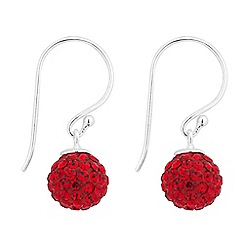 Simply Silver - Sterling silver red crystal ball drop earring
