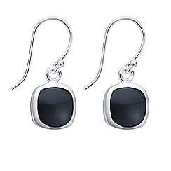 Simply Silver - Sterling silver onyx square drop earring